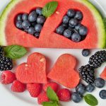 watermelon in heart shapes blueberries