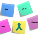 Post it notes with the words polycystic ovary syndrome and a teal ribbon